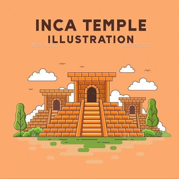 Inca Temple Illustration