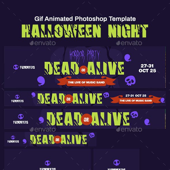 GIF Banners - Halloween Night Party Banners Ad