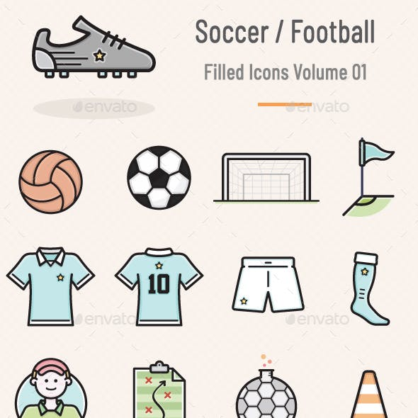 Soccer / Football Filled Icons - Volume 01