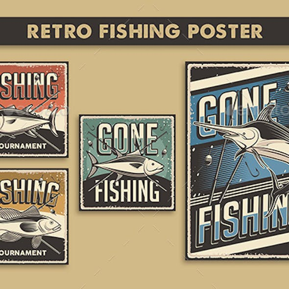 4 Vector Images of Retro Fishing Poster