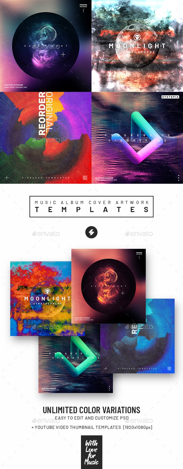 Music Album Cover Artwork Templates Bundle 74 - Miscellaneous Social Media