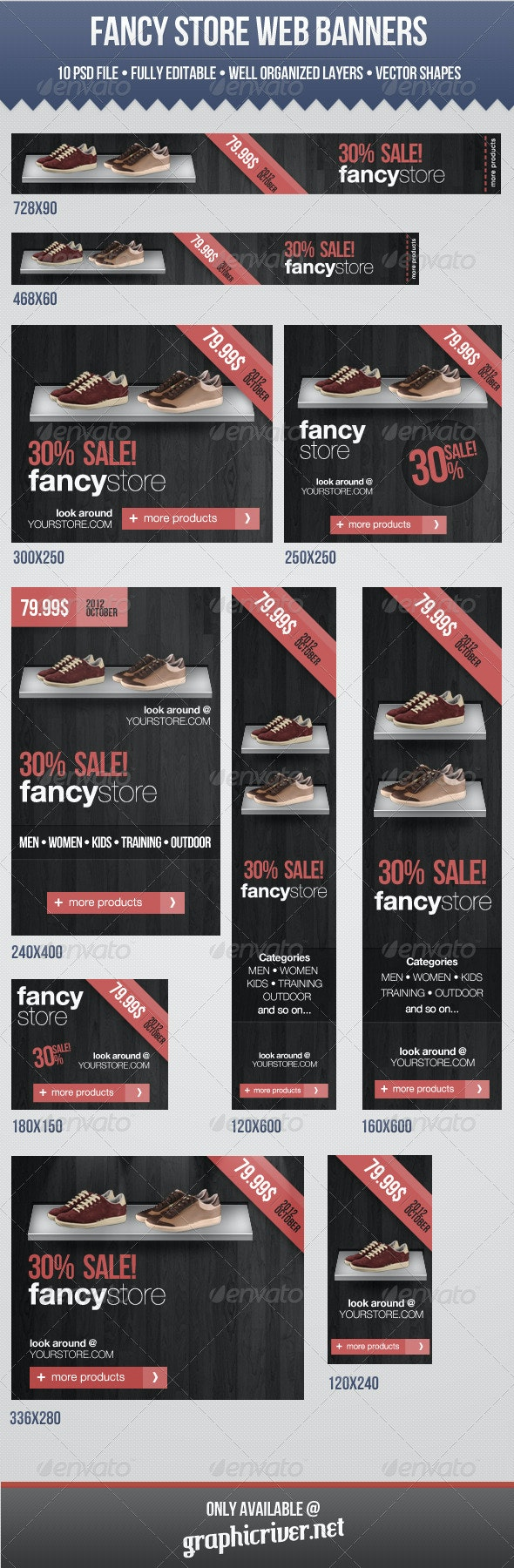 Fancy Store Web Banners - Banners & Ads Web Elements