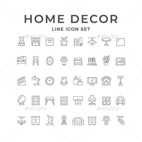 Set Line Icons of Home Decor