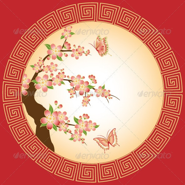 Oriental Cherry Blossom with Butterfly Wallpaper - Backgrounds Decorative