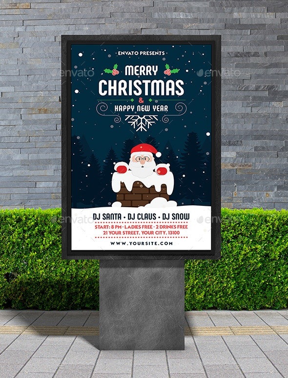 Merry Christmas & Happy New Year Poster - Signage Print Templates