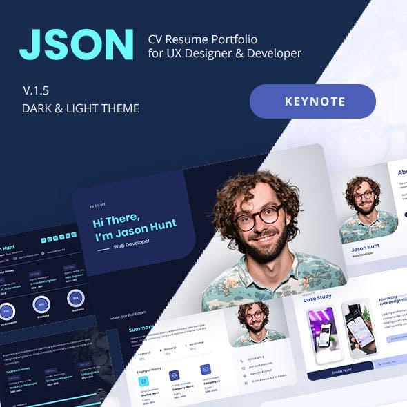 JSON - Keynote CV Resume Portfolio for UX Designer & Developer.