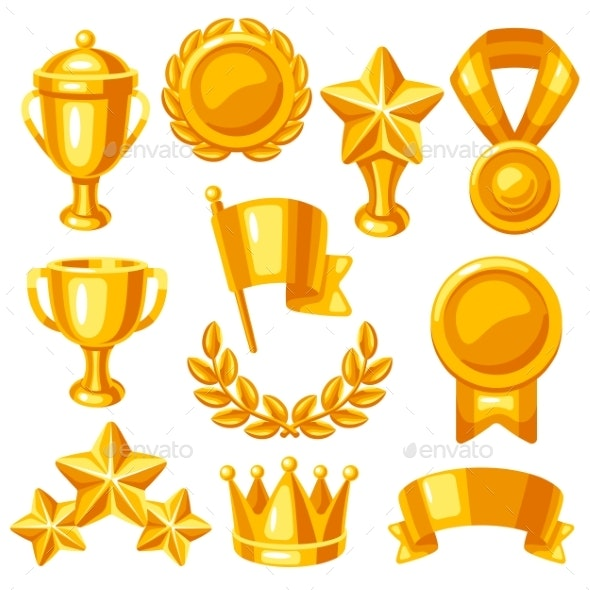 Awards and Trophy Icons Set - Sports/Activity Conceptual