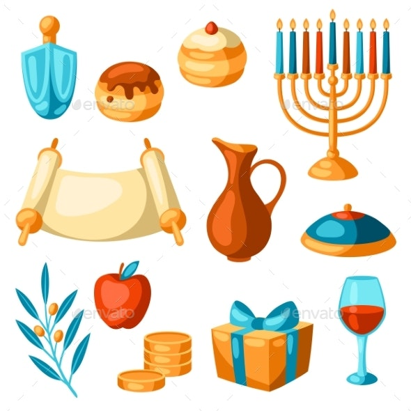 Set of Happy Hanukkah Religious Symbols - Seasons/Holidays Conceptual