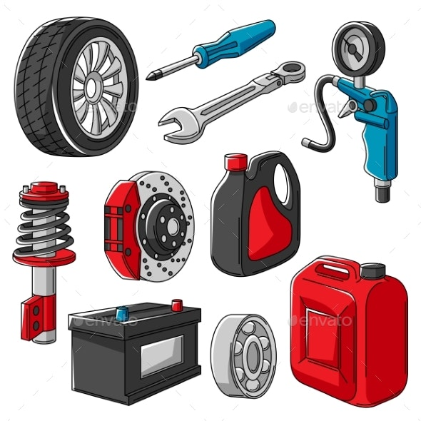 Set of Car Service Objects Illustration - Industries Business