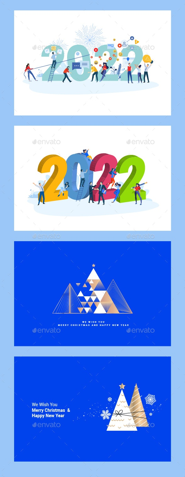 Christmas and New Year 2022 Greeting Cards and Banners - Seasons/Holidays Conceptual
