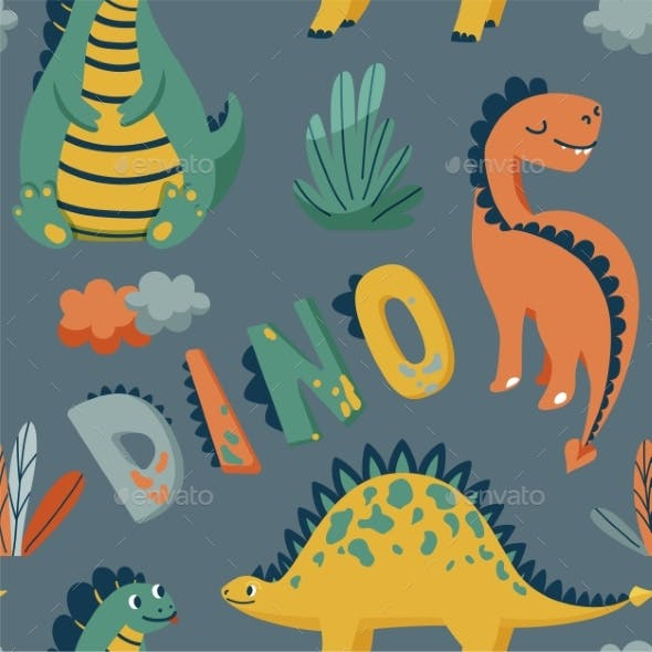 Cute Dinosaurs Seamless Vector Pattern with Bright