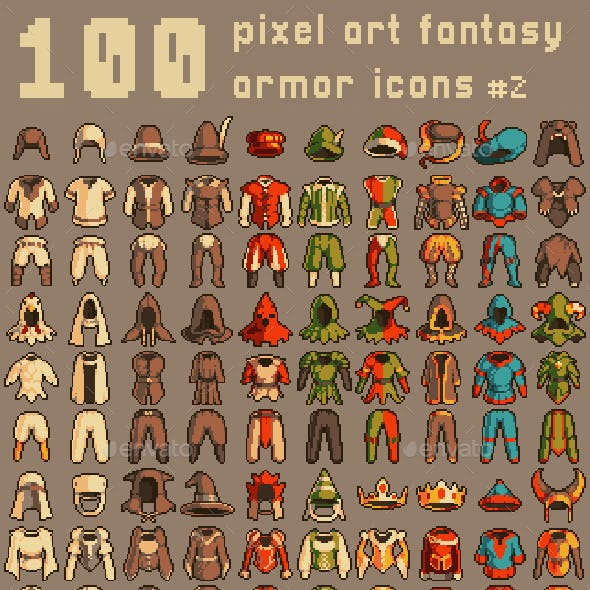 120 Pixel Art Armor Icons #2