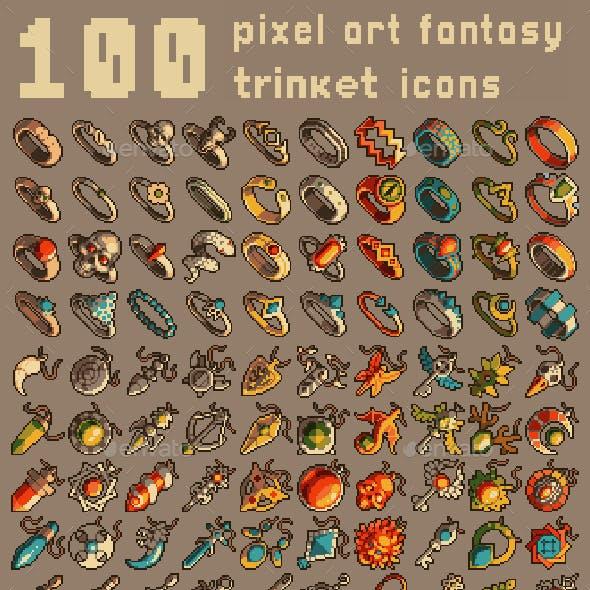 100 Pixel Art Trinket Icons