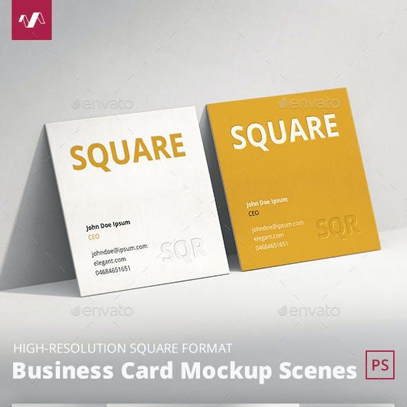 Business Card Mockup Scenes Square