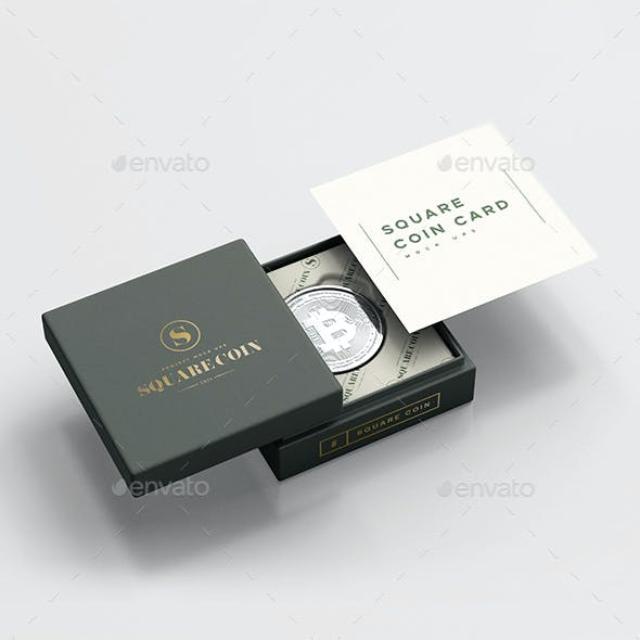 Square Coin capsule Mock up