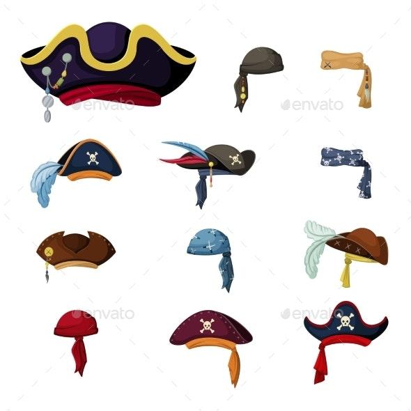 Colorful Corsair and Pirate Hats Set - Miscellaneous Vectors