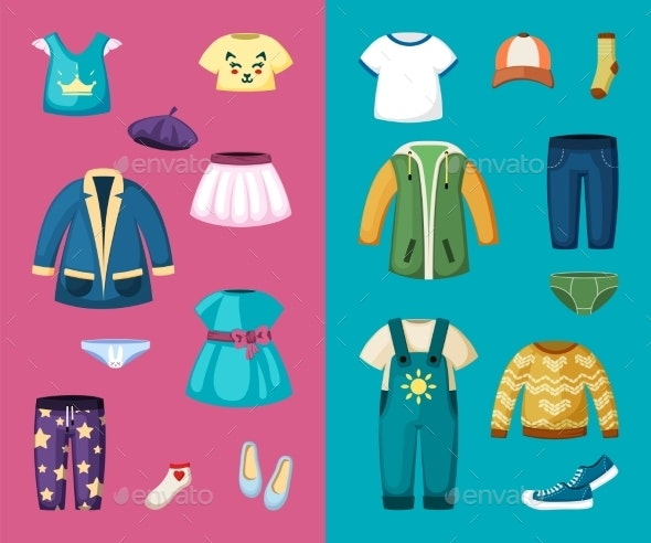 Clothes for Little Boys and Girls Set - Man-made Objects Objects