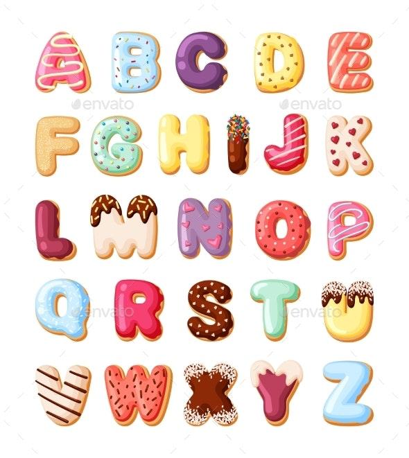 Alphabet Fro Sweet Pastries Set - Miscellaneous Vectors