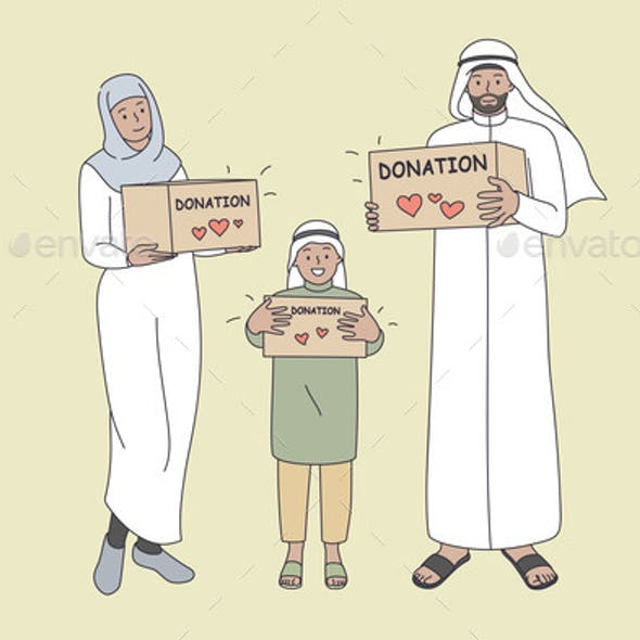 Donation for Muslim Families Concept