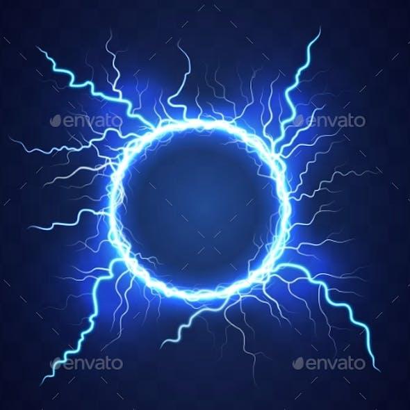 Realistic Circle of Thunder Storm Lightnings