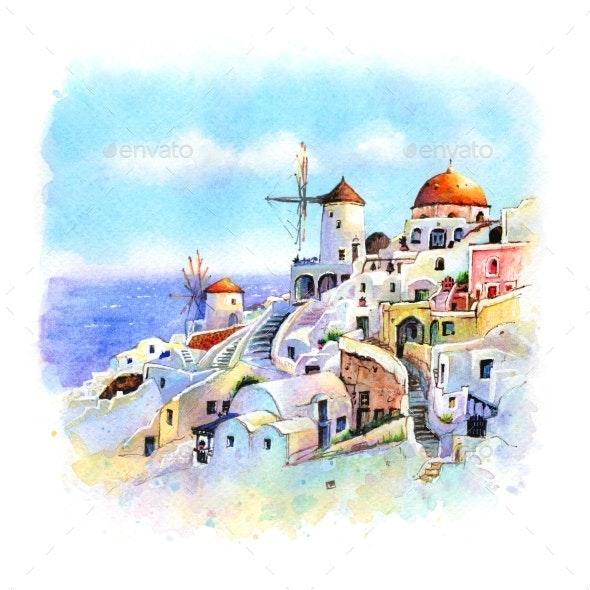 Oia at Sunset Santorini Greece - Urban Backgrounds