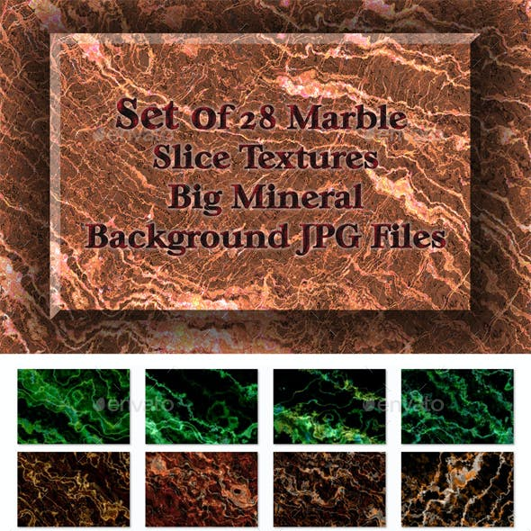 Set of 28 Marble Slice Textures - Big Mineral Background JPG Files