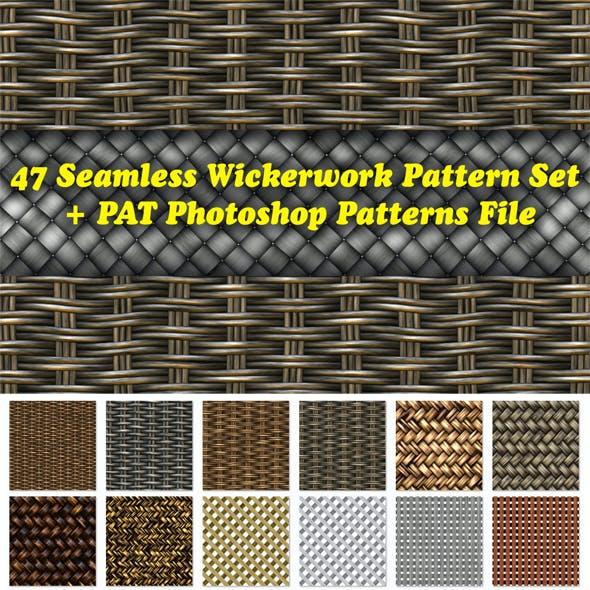 47 Seamless Wickerwork Pattern Set + PAT Photoshop Patterns File