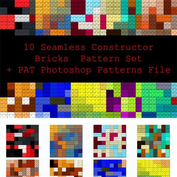 10 Seamless Constructor Bricks Pattern Set + PAT Photoshop Patterns File
