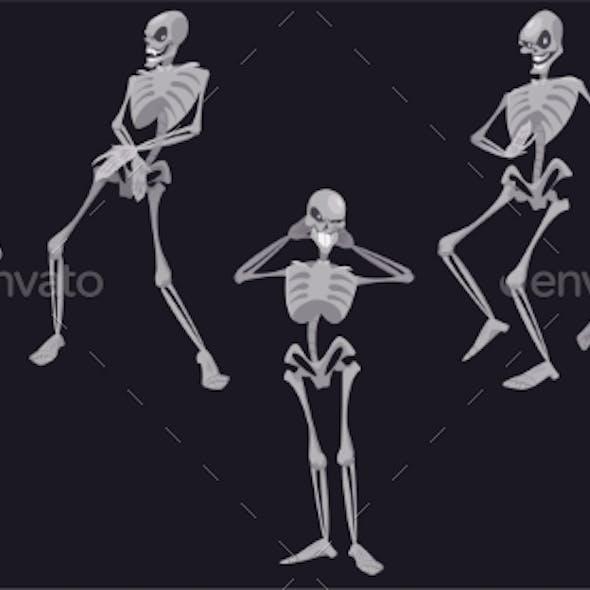 Skeletons Dance Funny Halloween Dead Characters