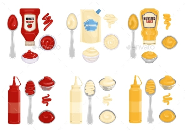 Sauce Kitchenware Realistic Composition - Food Objects