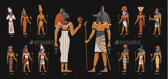 Egypt Ancient Gods Background - Religion Conceptual