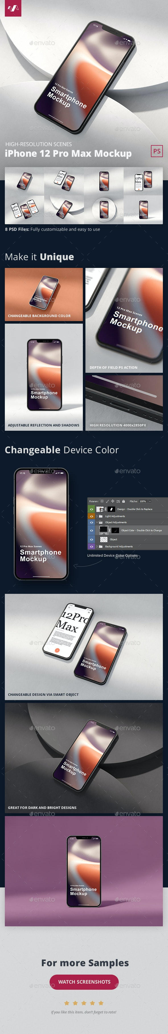 Phone 12 Pro Max Mockup Scenes - Mobile Displays