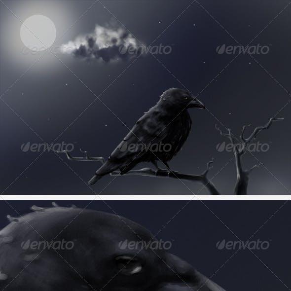 Crow at Full Moon