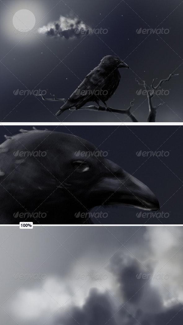 Crow at Full Moon - Animals Illustrations