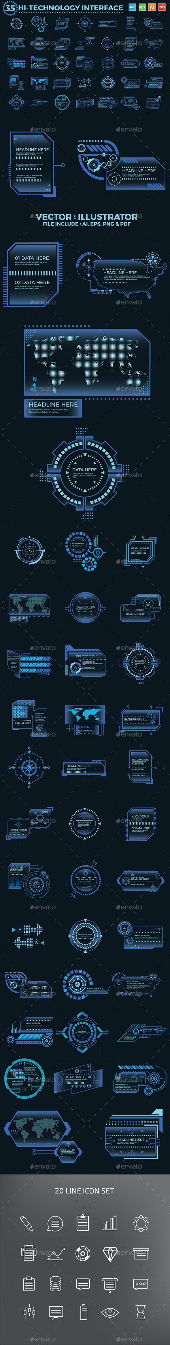 Hi-Technology Interface Design - Vectors