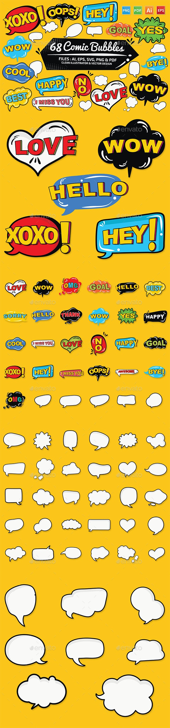 68 Comic Bubble Design - Vectors
