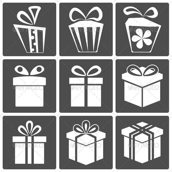 Gift icon set - Web Elements Vectors