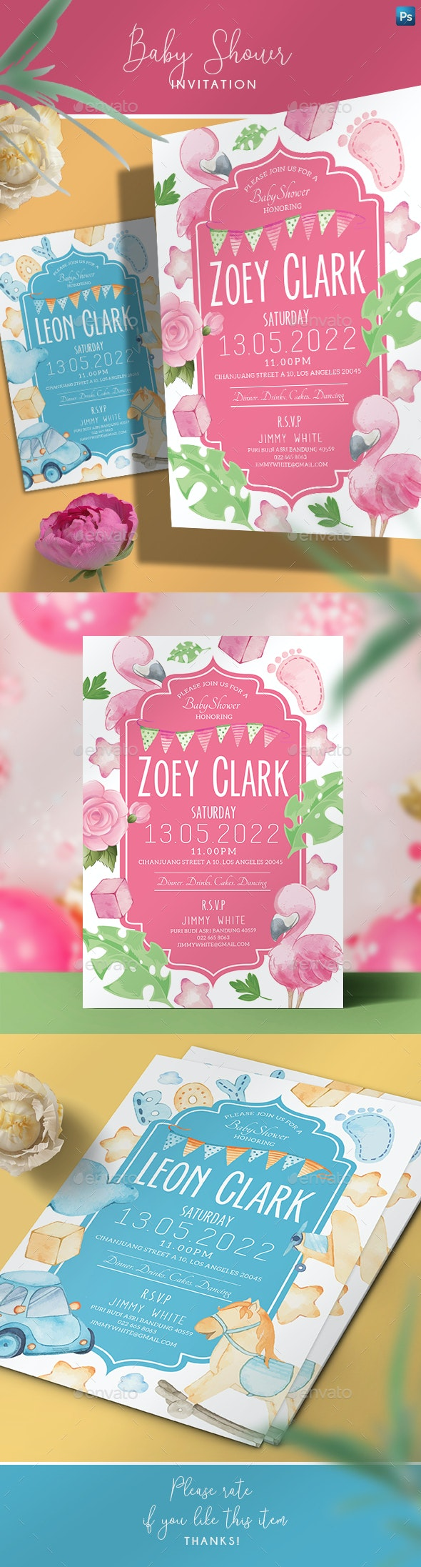 Boy and Girl Baby Shower Invitation - Family Cards & Invites
