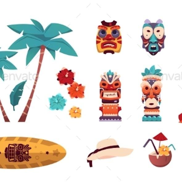 Hawaiian Tiki Icons