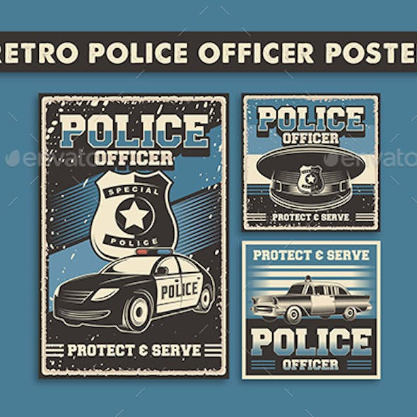 3 Vector Images of Retro Poliice Officer