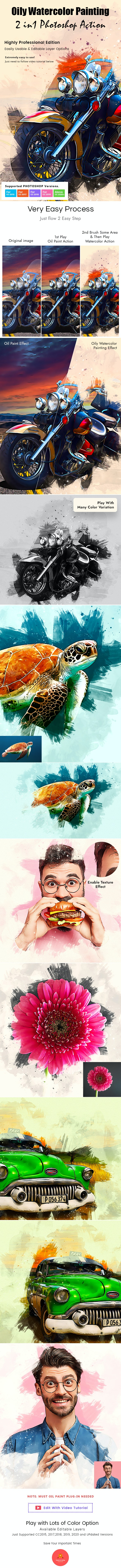 Oily Watercolor Painting Action - Photo Effects Actions