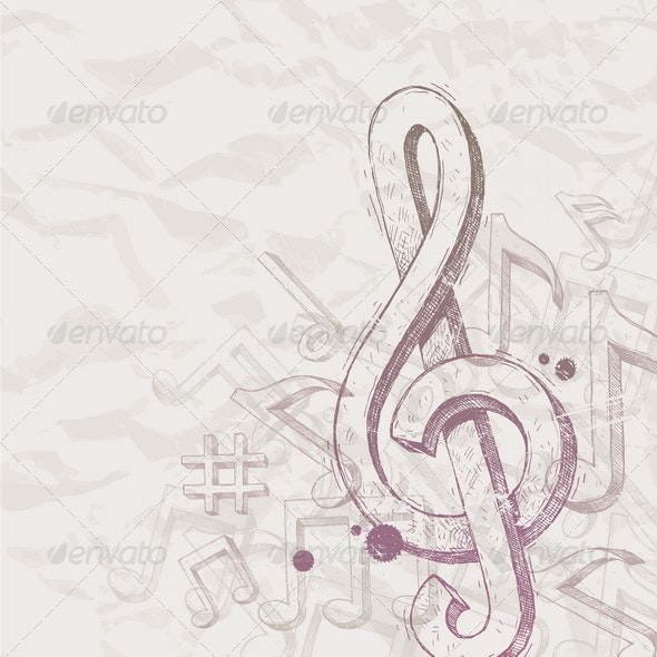 Vector hand drawn treble clef and notes - Decorative Symbols Decorative