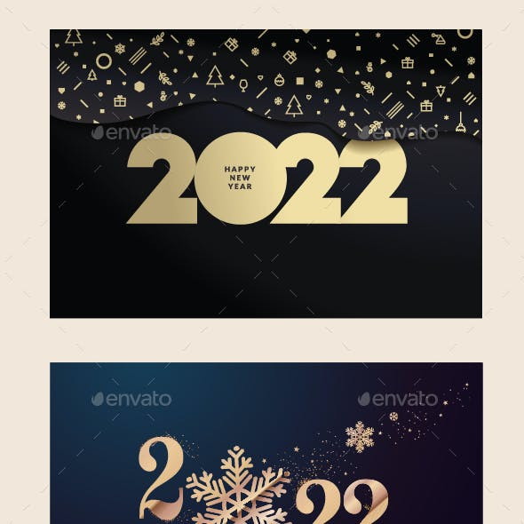 Set of Christmas and New Year 2022 Greeting Cards