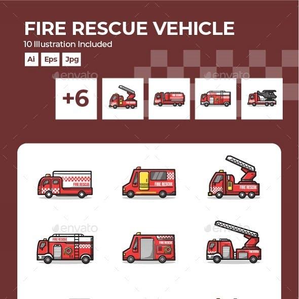 Set of Fire Rescue Department Vehicle Line Art Illustration