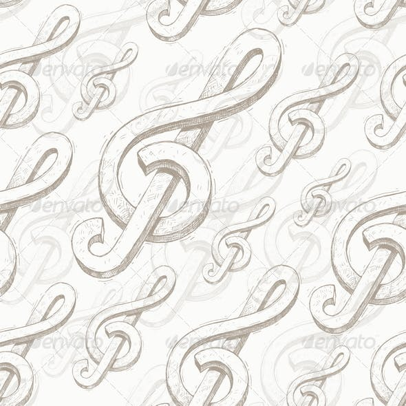Vector seamless background with treble clef