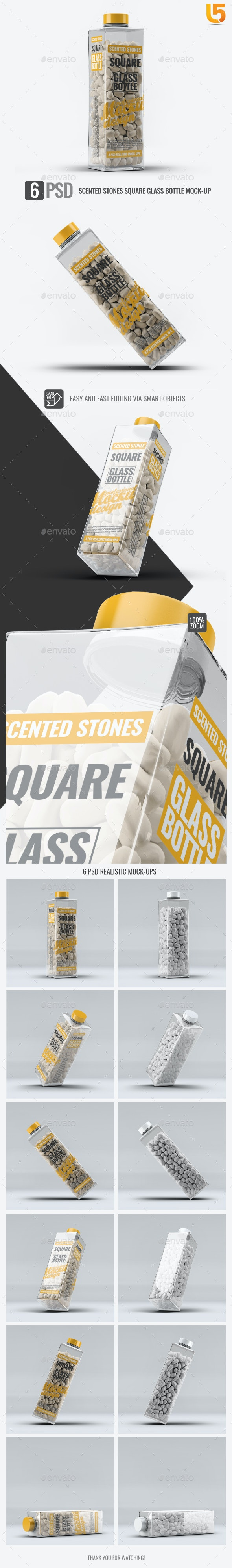 Scented Stones Square Glass Bottle Mock-Up - Beauty Packaging