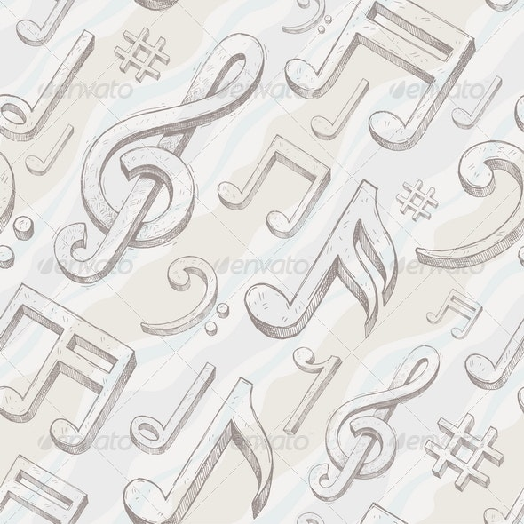 Seamless background with treble clef and notes - Backgrounds Decorative