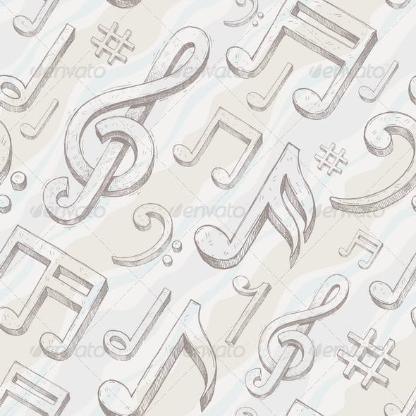 Seamless background with treble clef and notes