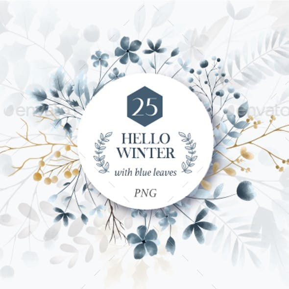 Hello Winter with Blue Flowers Png, Floral Wreath Frame Clipart, Watercolor Wedding Card, Blue