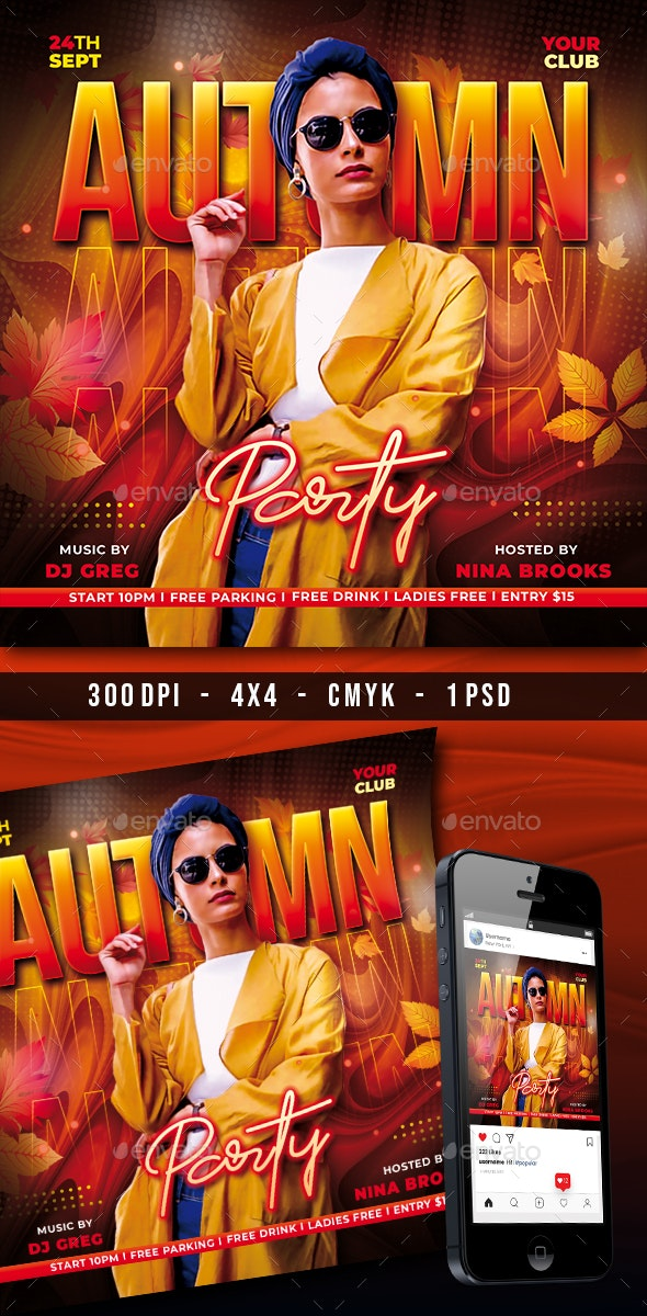 Autumn Night Party Flyer - Clubs & Parties Events
